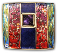 red brooch with square amethyst